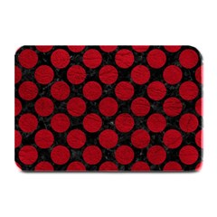 Circles2 Black Marble & Red Leather (r) Plate Mats