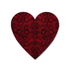 Damask2 Black Marble & Red Leather Heart Magnet