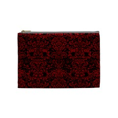 Damask2 Black Marble & Red Leather (r) Cosmetic Bag (medium)