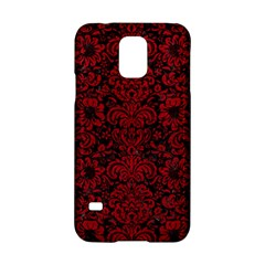 Damask2 Black Marble & Red Leather (r) Samsung Galaxy S5 Hardshell Case