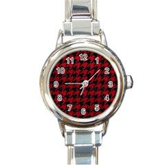 Houndstooth1 Black Marble & Red Leather Round Italian Charm Watch