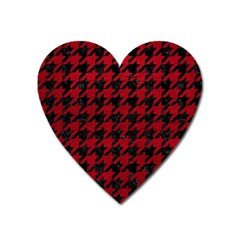 Houndstooth1 Black Marble & Red Leather Heart Magnet