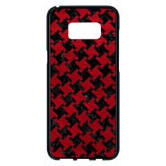 Houndstooth2 Black Marble & Red Leather Samsung Galaxy S8 Plus Black Seamless Case