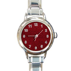 Hexagon1 Black Marble & Red Leather Round Italian Charm Watch