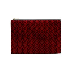 Hexagon1 Black Marble & Red Leather Cosmetic Bag (medium)