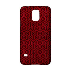 Hexagon1 Black Marble & Red Leather Samsung Galaxy S5 Hardshell Case