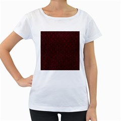Hexagon1 Black Marble & Red Leather (r) Women s Loose Fit T Shirt (white)