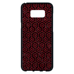 Hexagon1 Black Marble & Red Leather (r) Samsung Galaxy S8 Plus Black Seamless Case