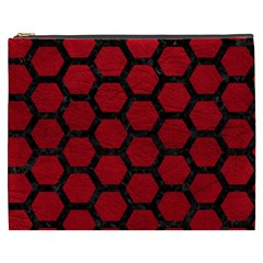 Hexagon2 Black Marble & Red Leather Cosmetic Bag (xxxl)