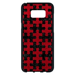 Puzzle1 Black Marble & Red Leather Samsung Galaxy S8 Plus Black Seamless Case