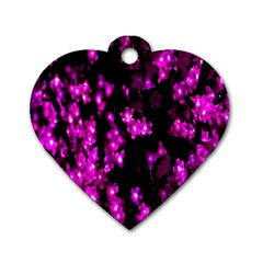 Abstract Background Purple Bright Dog Tag Heart (two Sides)