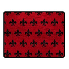 Royal1 Black Marble & Red Leather (r) Double Sided Fleece Blanket (small)