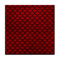 Scales1 Black Marble & Red Leather Tile Coasters