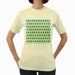 Christmas Background Christmas Tree Women s Yellow T Shirt