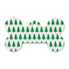 Christmas Background Christmas Tree Dog Tag Bone (one Side)