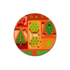 Christmas Design Seamless Pattern Magnet 3  (round)