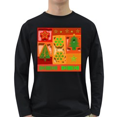 Christmas Design Seamless Pattern Long Sleeve Dark T Shirts