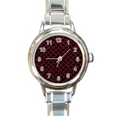 Scales1 Black Marble & Red Leather (r) Round Italian Charm Watch