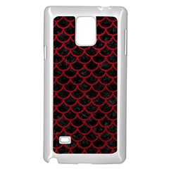 Scales1 Black Marble & Red Leather (r) Samsung Galaxy Note 4 Case (white)