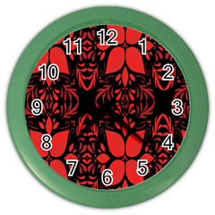 Christmas Red And Black Background Color Wall Clocks