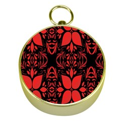 Christmas Red And Black Background Gold Compasses