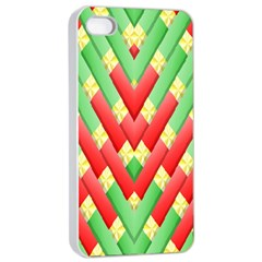 Christmas Geometric 3d Design Apple Iphone 4/4s Seamless Case (white)