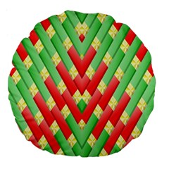 Christmas Geometric 3d Design Large 18  Premium Flano Round Cushions