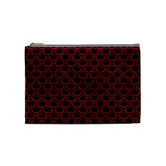 Scales2 Black Marble & Red Leather (r) Cosmetic Bag (medium)