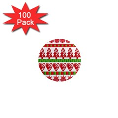 Christmas Icon Set Bands Star Fir 1  Mini Magnets (100 Pack)
