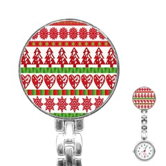 Christmas Icon Set Bands Star Fir Stainless Steel Nurses Watch