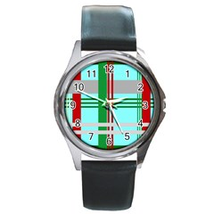 Christmas Plaid Backgrounds Plaid Round Metal Watch