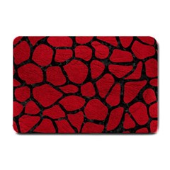 Skin1 Black Marble & Red Leather (r) Small Doormat