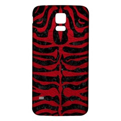 Skin2 Black Marble & Red Leather (r) Samsung Galaxy S5 Back Case (white)