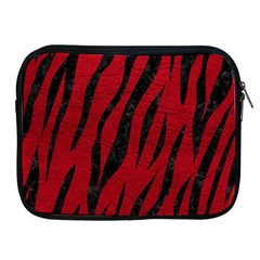 Skin3 Black Marble & Red Leather Apple Ipad 2/3/4 Zipper Cases