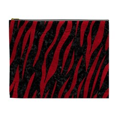 Skin3 Black Marble & Red Leather (r) Cosmetic Bag (xl)
