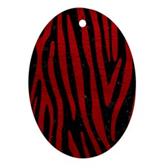 Skin4 Black Marble & Red Leather Ornament (oval)