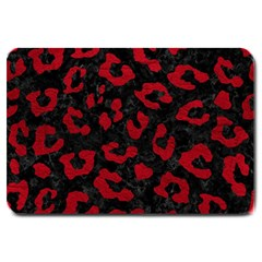 Skin5 Black Marble & Red Leather Large Doormat