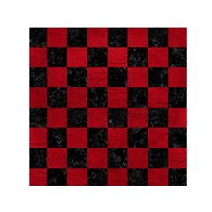 Square1 Black Marble & Red Leather Small Satin Scarf (square)