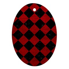 Square2 Black Marble & Red Leather Ornament (oval)