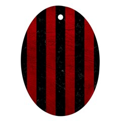 Stripes1 Black Marble & Red Leather Ornament (oval)