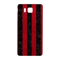 Stripes1 Black Marble & Red Leather Samsung Galaxy Alpha Hardshell Back Case
