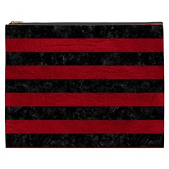 Stripes2 Black Marble & Red Leather Cosmetic Bag (xxxl)
