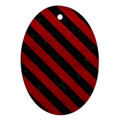 Stripes3 Black Marble & Red Leather Ornament (oval)