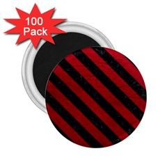 Stripes3 Black Marble & Red Leather 2 25  Magnets (100 Pack)