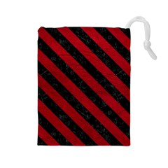 Stripes3 Black Marble & Red Leather Drawstring Pouches (large)