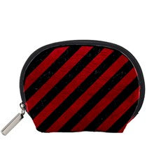 Stripes3 Black Marble & Red Leather (r) Accessory Pouches (small)