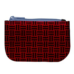 Woven1 Black Marble & Red Leather Large Coin Purse