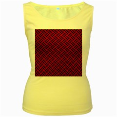Woven2 Black Marble & Red Leather Women s Yellow Tank Top