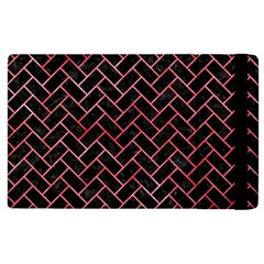 Brick2 Black Marble & Red Watercolor (r) Apple Ipad 2 Flip Case
