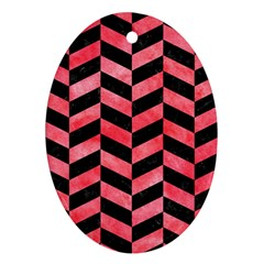 Chevron1 Black Marble & Red Watercolor Oval Ornament (two Sides)